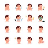 Men skin problems and care, beauty treatment vector icons set, flat color