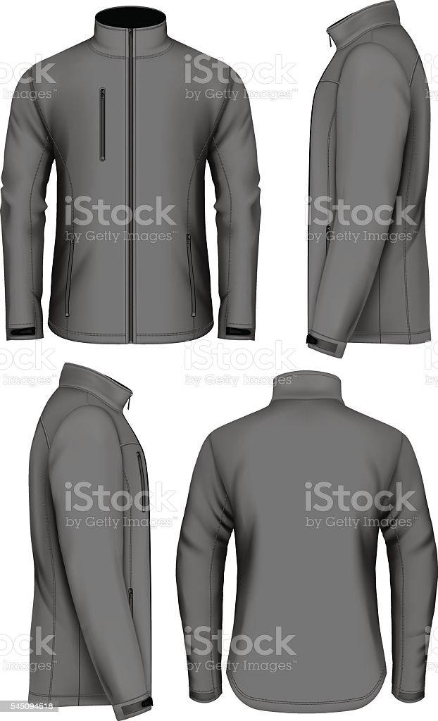 Men softshell jacket design template vector art illustration
