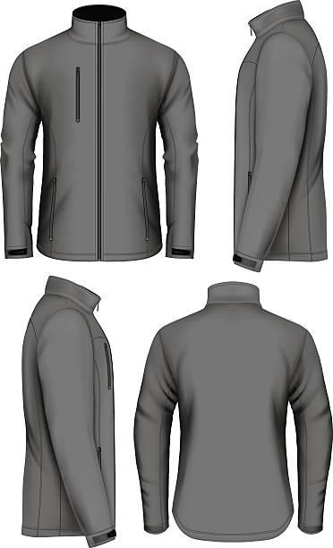 illustrazioni stock, clip art, cartoni animati e icone di tendenza di men softshell jacket design template - giacca