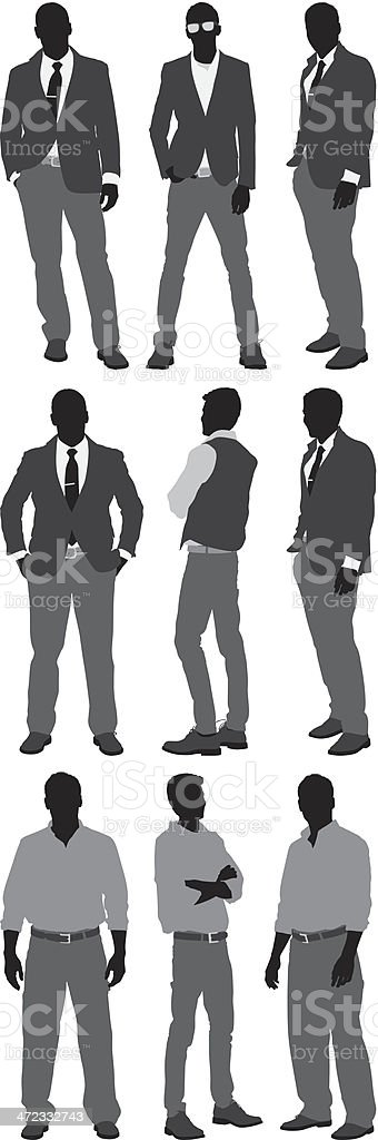 Men standing in different poses vector art illustration