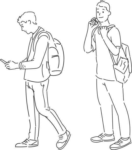Hommes debout à l'aide d'illustrations vectorielles téléphone intelligent - Illustration vectorielle
