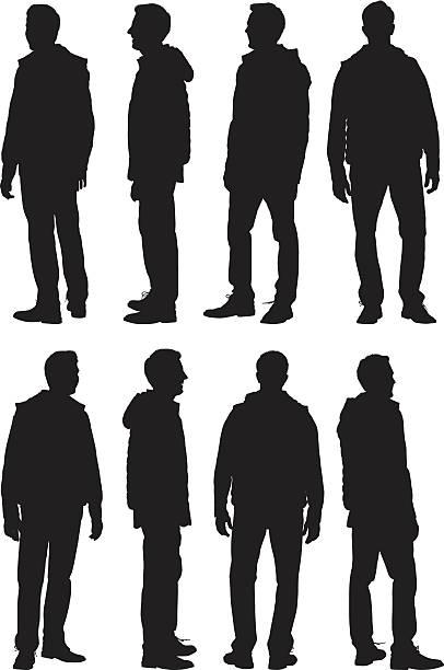 illustrazioni stock, clip art, cartoni animati e icone di tendenza di uomo in piedi - ritratto 360 gradi