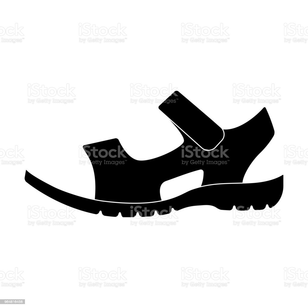 Men summer brown leather sandals on a bare foot.Different shoes single icon in black style vector symbol stock web illustration. royalty-free men summer brown leather sandals on a bare footdifferent shoes single icon in black style vector symbol stock web illustration stock vector art & more images of adult