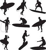 Men surfing extreme water sport