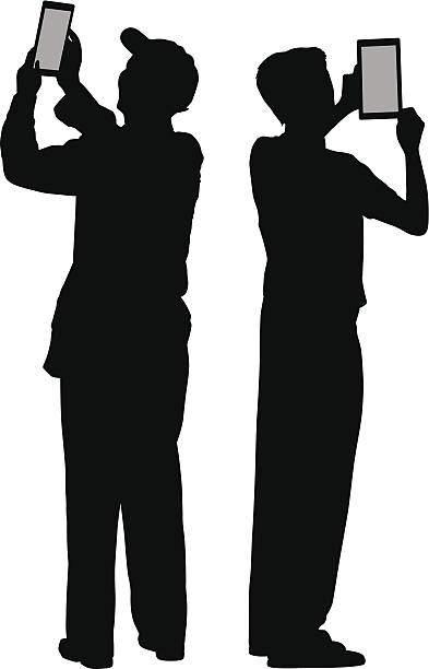 men taking pictures with their tablets - old man hats pictures stock illustrations, clip art, cartoons, & icons