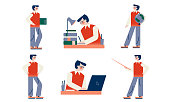 Set of isolated hand drawn men teachers during lessons at school teaching pupils and explaining material over white background vector illustration. Teacher during work concept