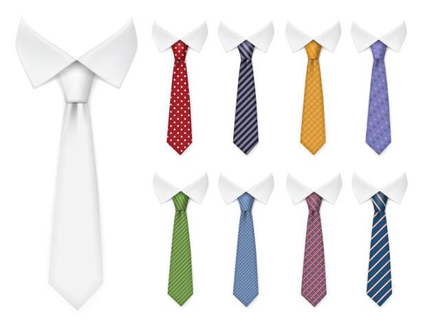 ilustrações de stock, clip art, desenhos animados e ícones de men ties. fabric clothes items for male wardrobe elegant style ties different colors and textures vector realistic mockup collection - gravata