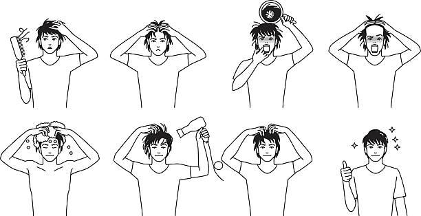 Men to hair care vector art illustration
