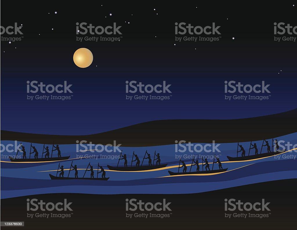 Men traveling by canoe under the night sky vector art illustration