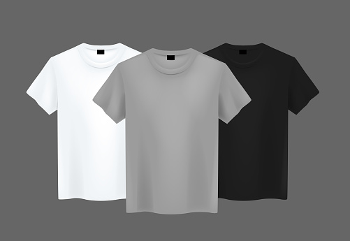Men T-shirt composition. Realistic mockup whit brand text for advertising. Short sleeve T-shirt template on background.