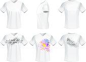 drawing of vector men t-shirt design set.