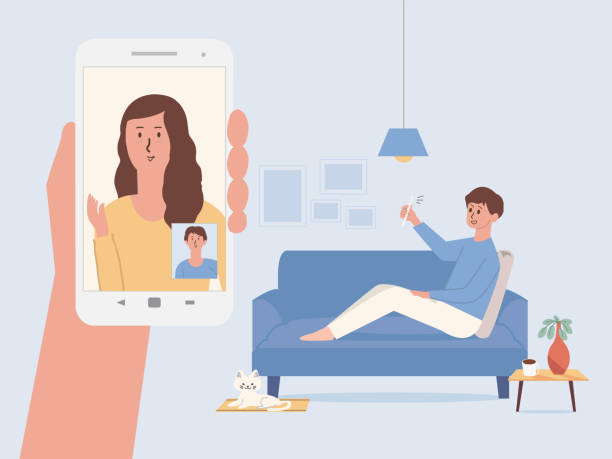 illustrazioni stock, clip art, cartoni animati e icone di tendenza di men using a smartphone for video calls with his colleague from home. hand holding white smartphone have women on the mobile screen greet her friend. new normal and social distancing. - new normal