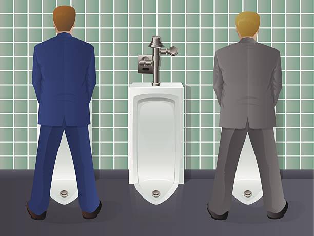 Men Using Urinal vector art illustration