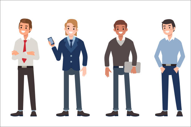 men Multinational men wearing office clothes. Dress code concept. Flat style vector illustration isolated on white background. suit stock illustrations