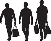 Vector silhouettes of three men carrying bags while walking forward.
