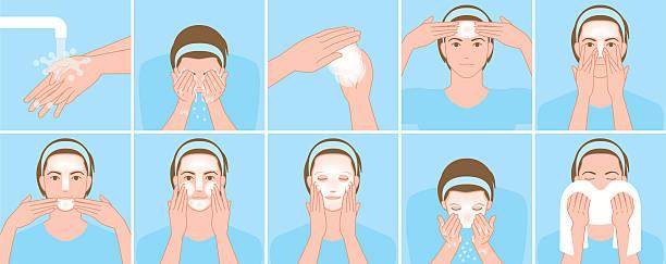 ilustrações, clipart, desenhos animados e ícones de homens lavar o rosto - limpando rosto