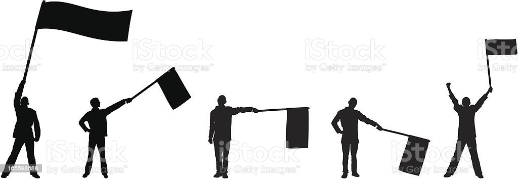 Men Waving Flags royalty-free stock vector art
