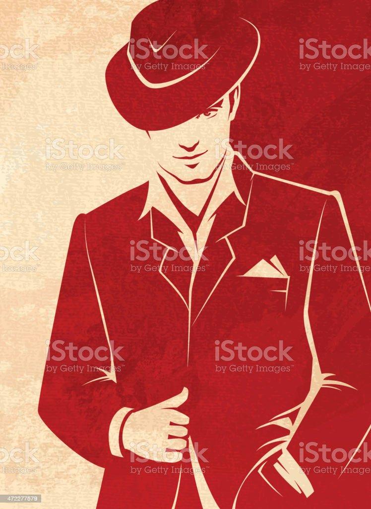 Men Wearing a Hat vector art illustration