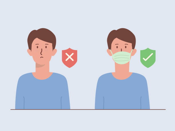 Men wearing a surgical mask cover his face with a shield icon with right and wrong symbol. Illustration about The New normal of Lifestyle out of home to prevent viruses. vector art illustration