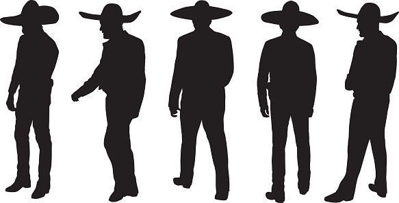 Men Wearing Sombreros Silhouettes