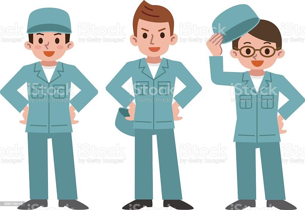 Men wearing work clothes ベクターアートイラスト