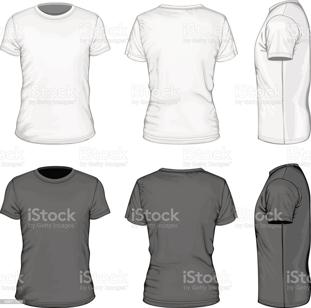 Men white and black short sleeve t-shirt vector art illustration