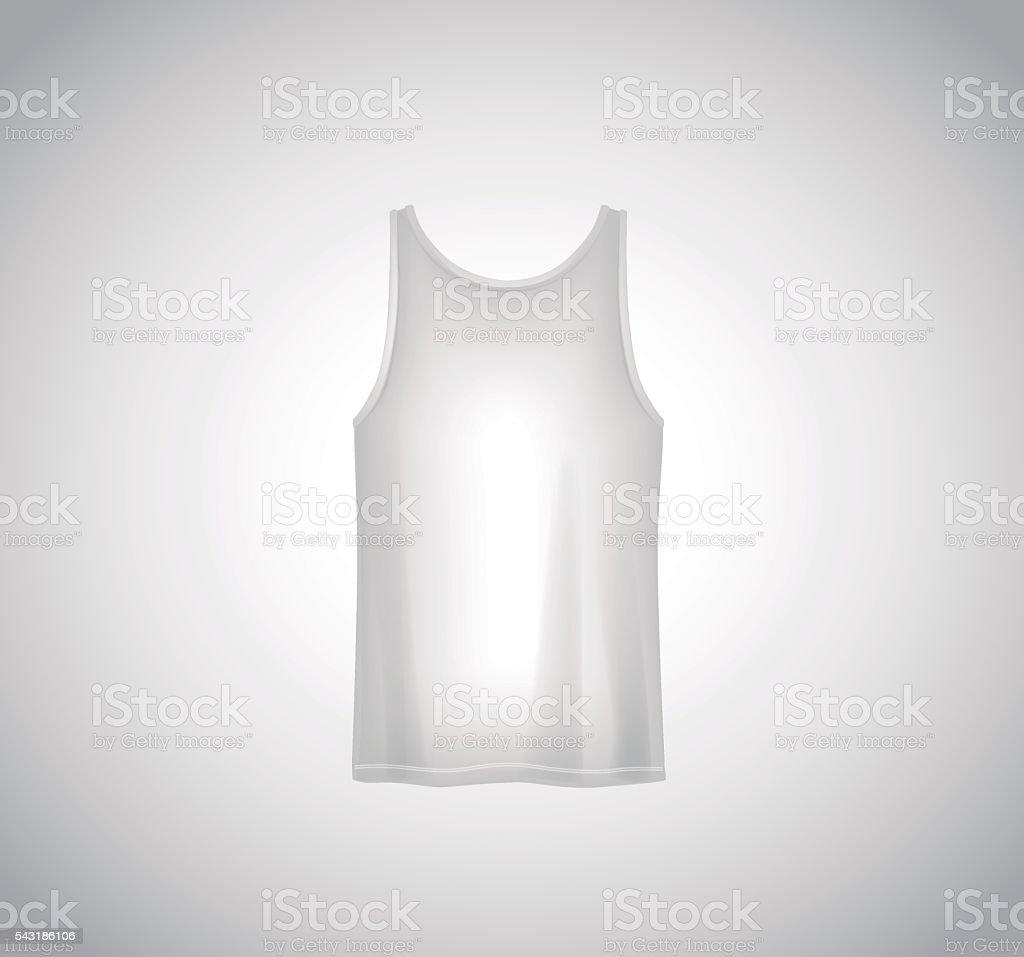 e241ea19968ee Men white tank top isolated. Realistic mockup. Short sleeve T-sh royalty-