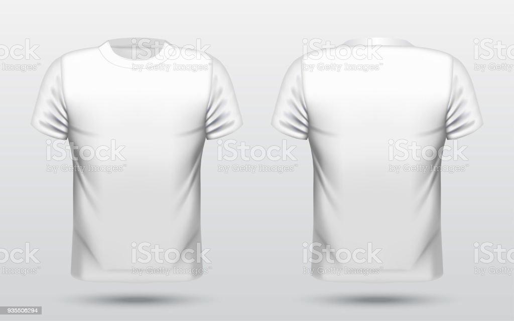 Men White Tshirt Design Template Front And Back Stock Vector Art ...