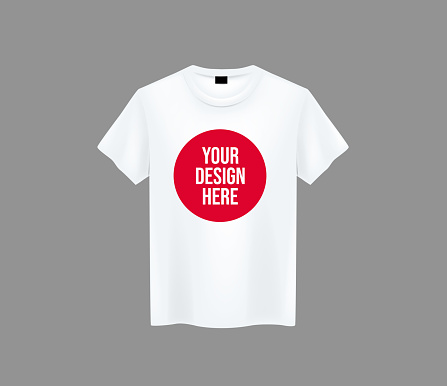 Men white T-shirt. Realistic mockup with brand text for advertising. Short sleeve T-shirt template on background.