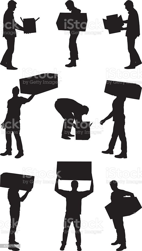 Men with boxes vector art illustration