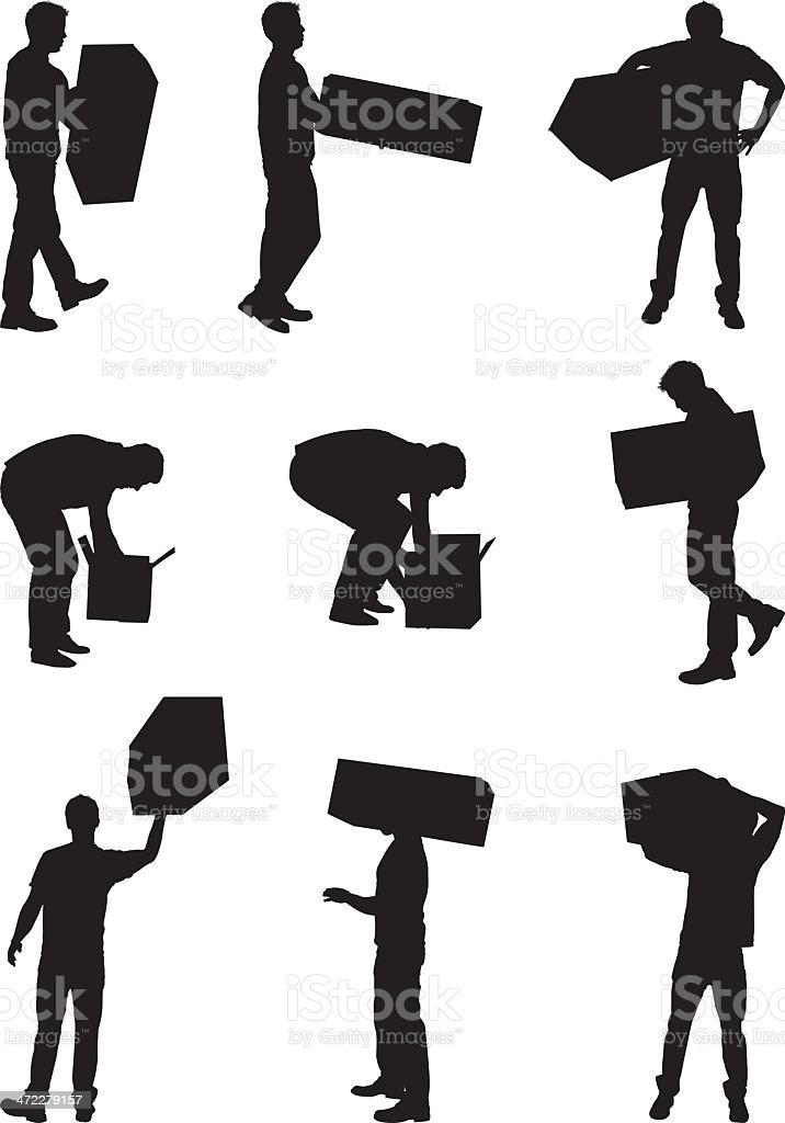 Men with cardboard boxes vector art illustration