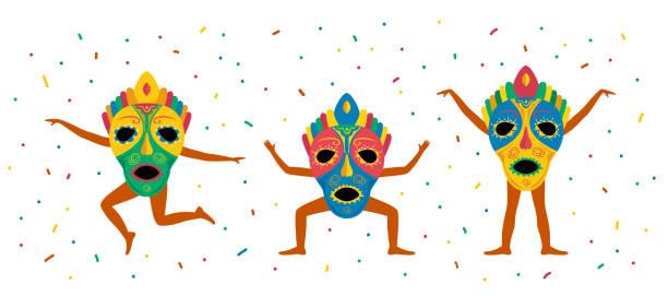ilustrações de stock, clip art, desenhos animados e ícones de men with carnival mask - afro latino mask