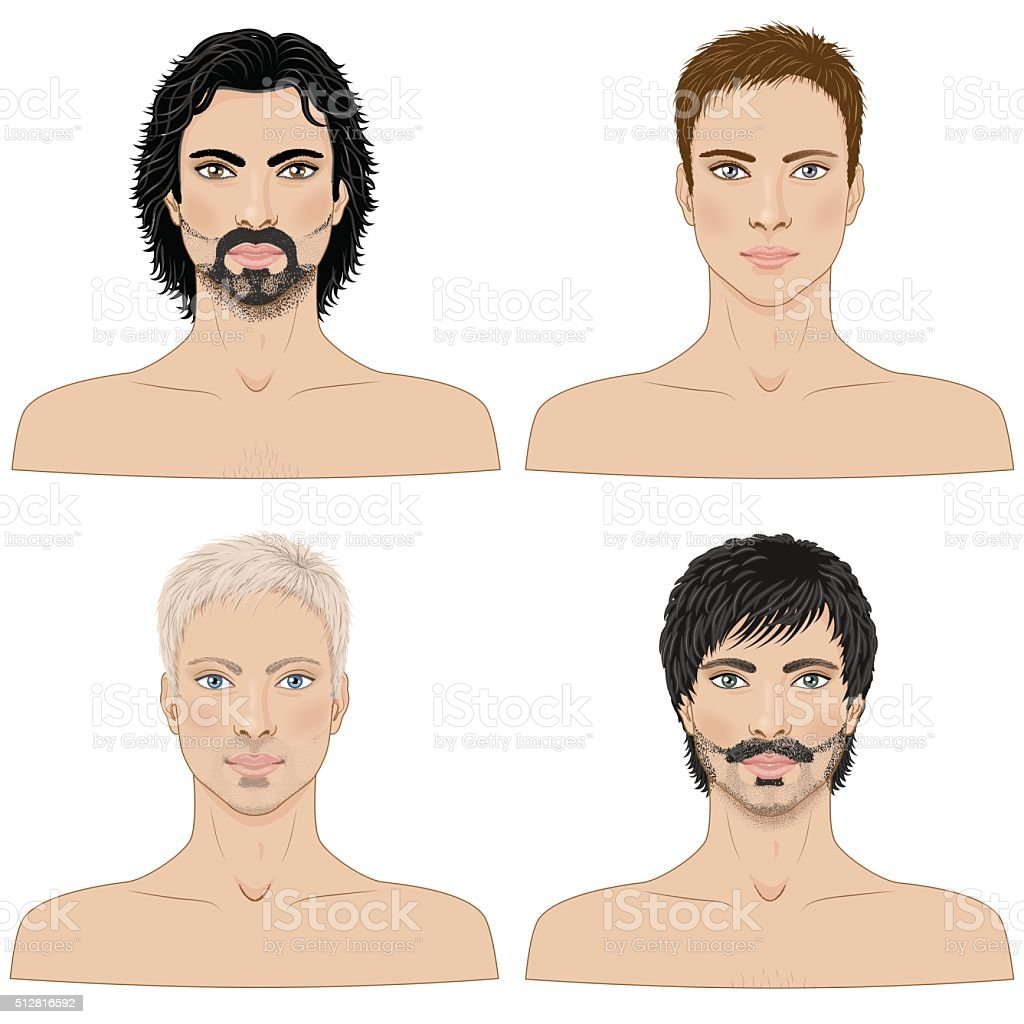 Men  with Different Hairstyles. vector art illustration