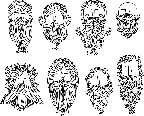 men with different style of mustache - old man hair stock illustrations, clip art, cartoons, & icons