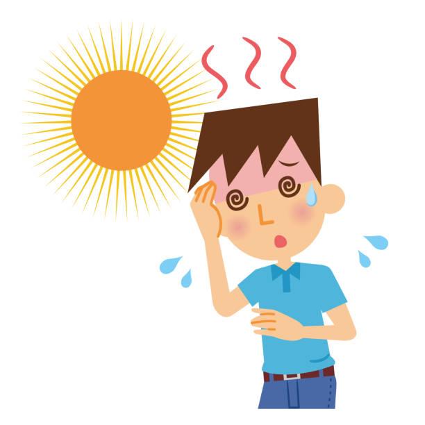 Men with heat stroke. Men with heat stroke. heat wave stock illustrations