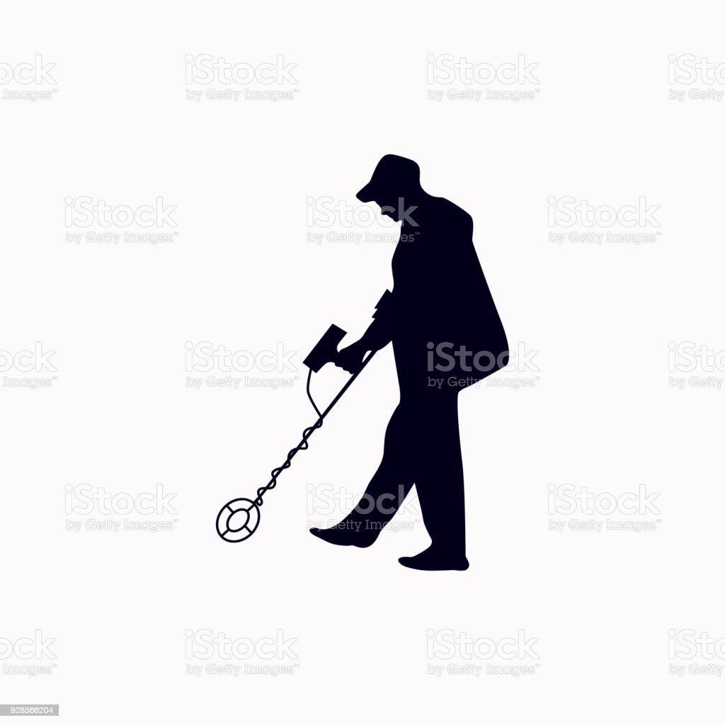 Jew Detector: Men With Metal Detector Vector Icon Stock Vector Art