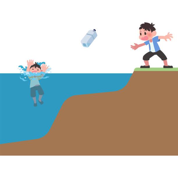 溺れている子供にペットボトルを投げると男性 ベクターアートイラスト