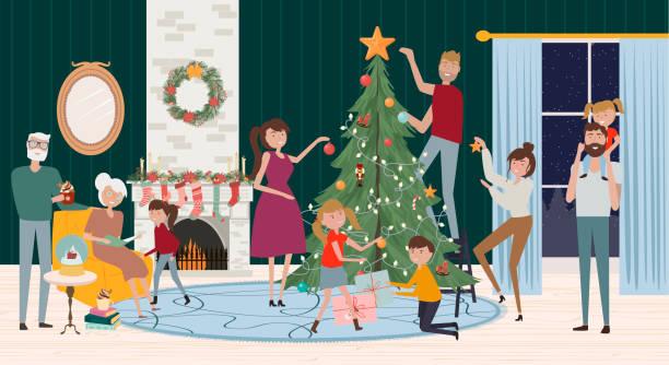 stockillustraties, clipart, cartoons en iconen met mannen, vrouwen en kinderen versieren kerstboom en zittend naast open haard. - christmas family
