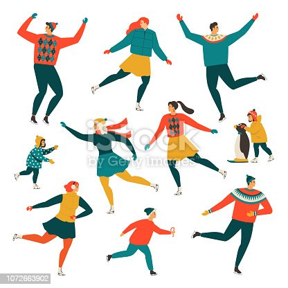 Crowd of tiny people dressed in winter clothes ice skating on rink. Men, women and children in seasonal outerwear on ice skates having fun outdoors. Colorful vector illustration in flat retro style.