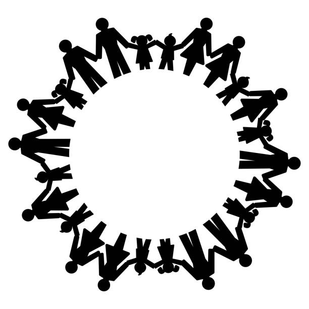 Men, women, boys and girls holding hands and forming a circle vector art illustration