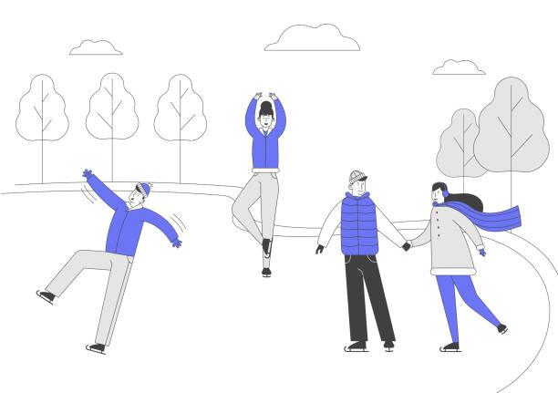 bildbanksillustrationer, clip art samt tecknat material och ikoner med män kvinnor tecken konståkning på fryst damm eller ishallen på vintern dag. glada människor på park fritid utomhusaktiviteter. julhelgen ledig tid tecknad platta vektor illustration, linje konst - street dance