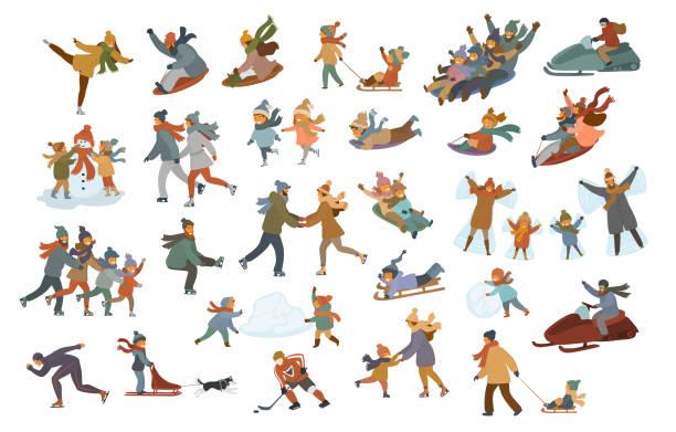 stockillustraties, clipart, cartoons en iconen met mannen vrouwen paren kinderen kinderen familie rodelen, schaatsen op een ijsbaan, spelen, maken sneeuwpop en sneeuw engel, genieten van wintersport en ontspanning activiteiten scènes set - family winter holiday