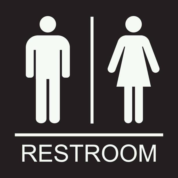 männer frauen allgemeine toilette zeichen oder symbol vektor illustration - mann tür heimlich stock-grafiken, -clipart, -cartoons und -symbole