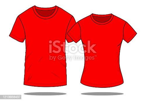 Men & Women Red T-Shirt Vector For Template