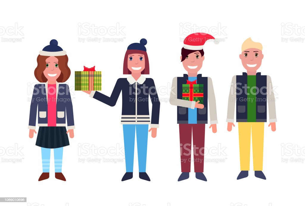 24488f03 men women standing together happy new year merry christmas concept male  female cartoon character full length