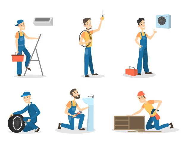 ilustrações, clipart, desenhos animados e ícones de conjunto de trabalhadores homens de uniforme - eletricista
