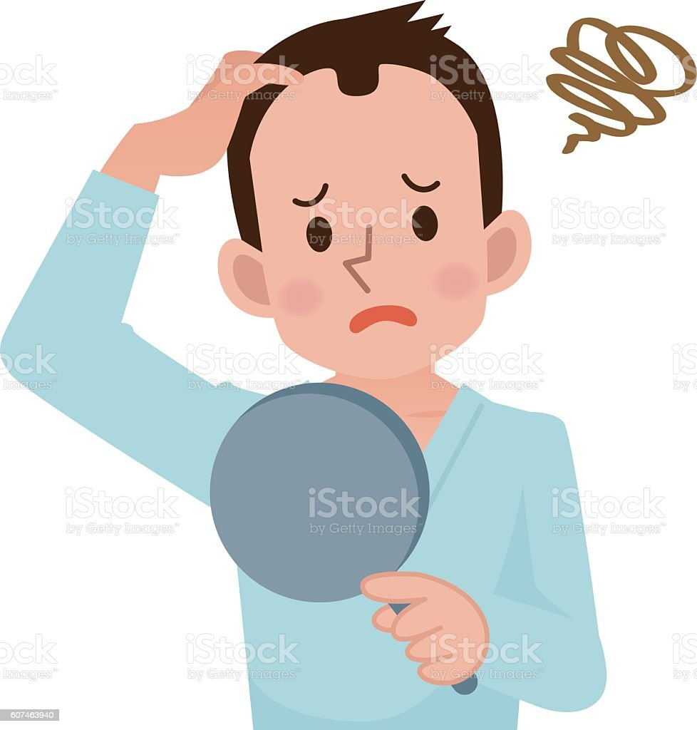 Men worry about hair loss vector art illustration