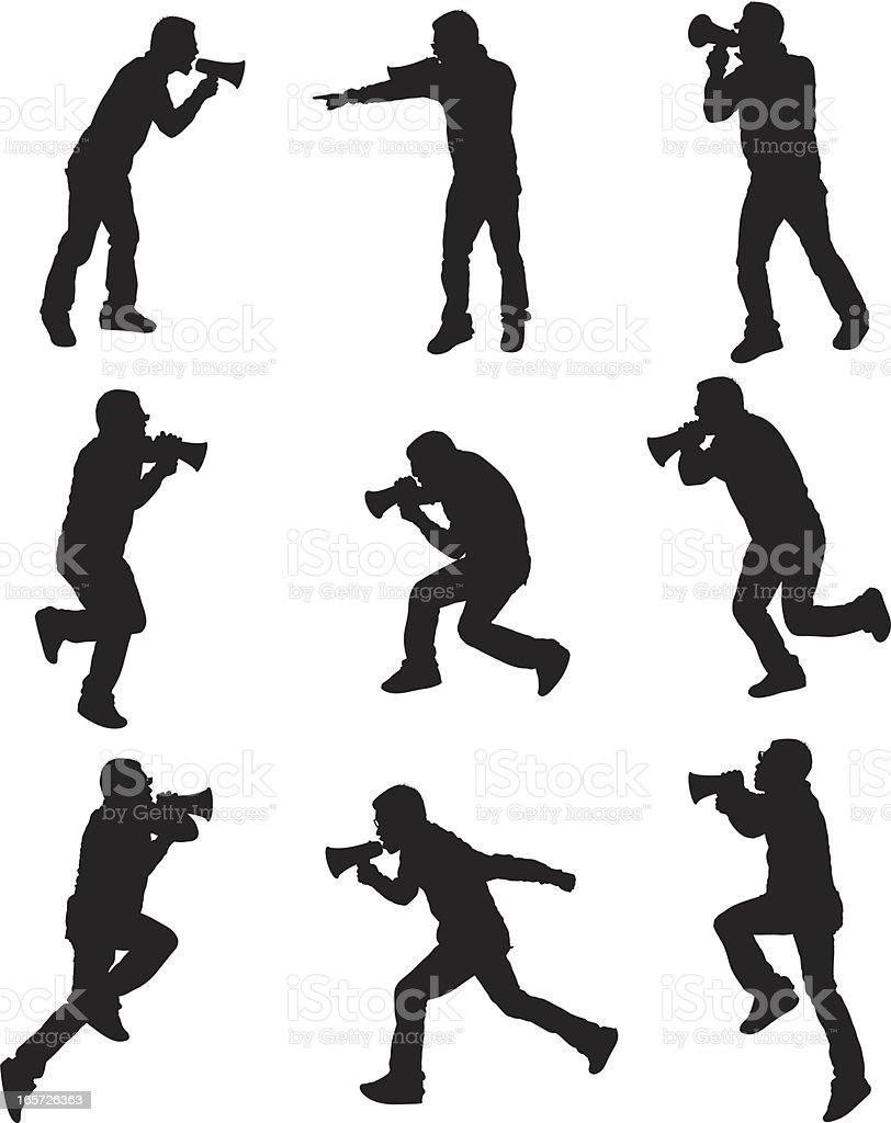 Men yelling into megaphones royalty-free stock vector art
