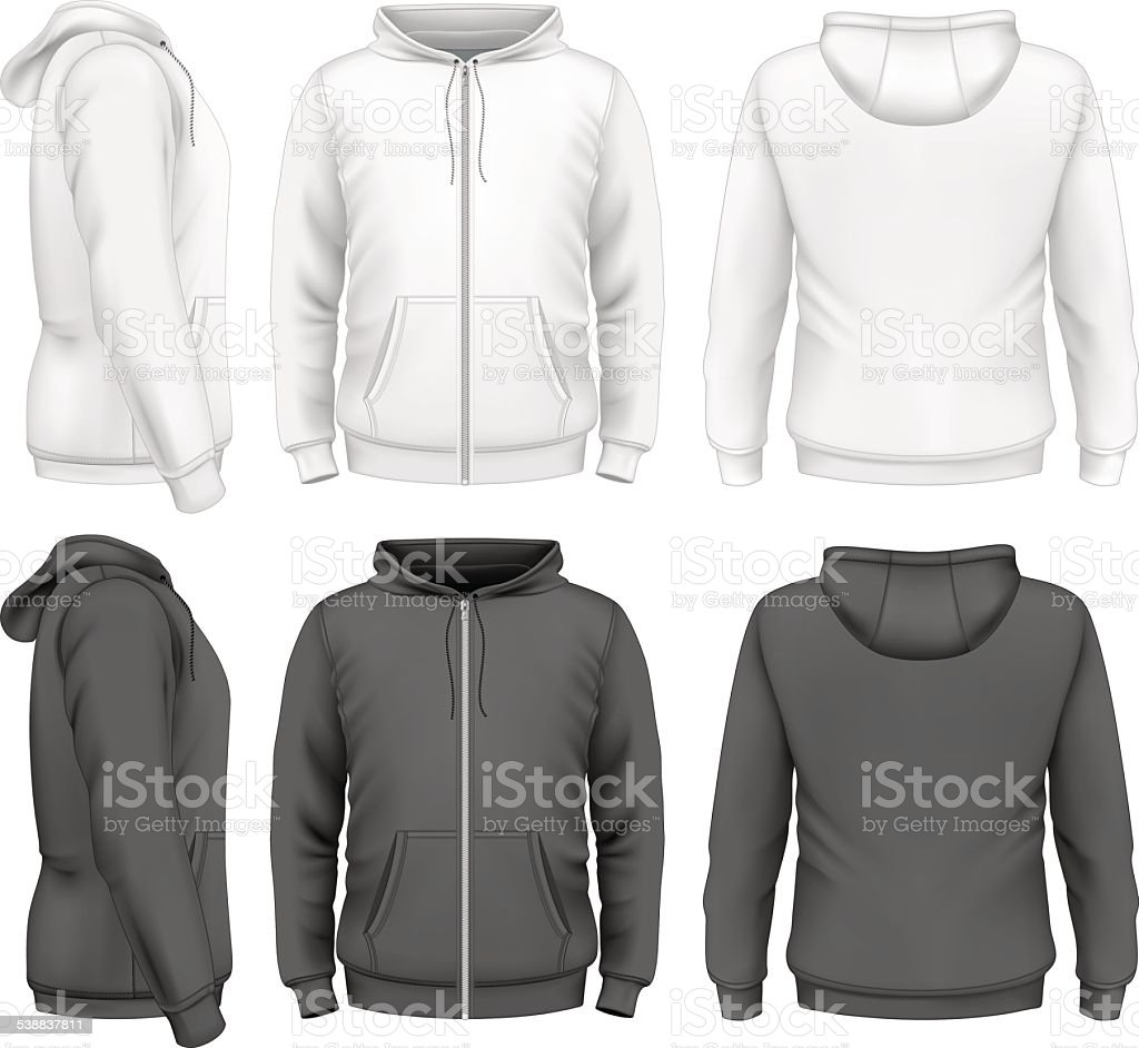 Men zip hoodie vector art illustration