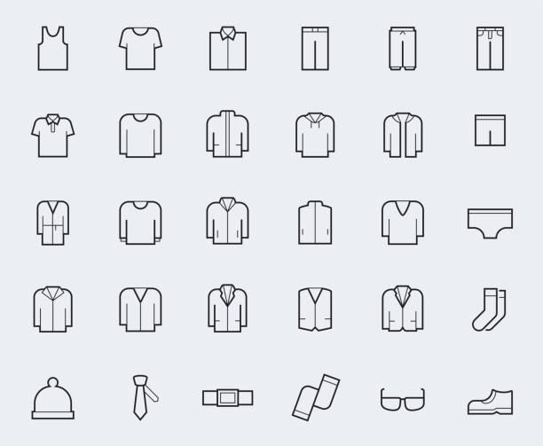 illustrations, cliparts, dessins animés et icônes de hommes ' icônes vêtements s dans le style de ligne fine - homme slip